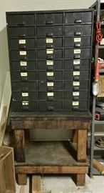 Antique Industrial Multi-Drawer Cabinet
