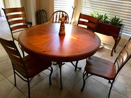 Nice Wood & Iron Dining Table w/Four Chairs