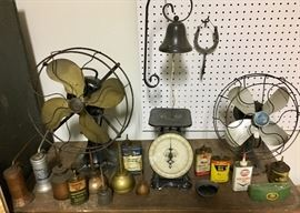 Antique Fans, Scale, Oil Cans & Dinner Bell