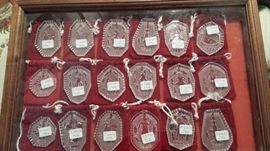 Assorted Waterford crystal 12 days of Christmas ornaments