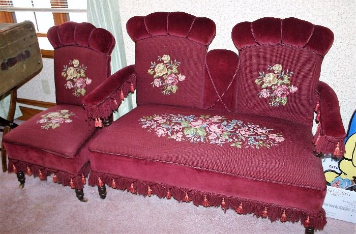 Maroon Settee & Chair