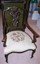 Wood Arm Chair w/Needle Point Seat