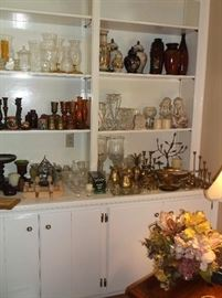 Clear glassware, grass, wooden candlesticks, vases, etc.