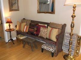 Church pew, footstools, brass floor lamp
