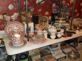 Red Willow china, tea set,, and silver plate