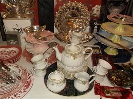 Tea set and stacked cake pedestals