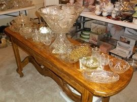 """Console table with """"Star of David"""" glassware"""