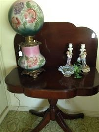 "Curved legged (paw claw feet) antique folding game table with flip top; ""Gone With the Wind"" lamp"