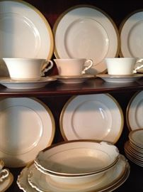 "Syracuse ""Bracelet"" china (12 dinner plates, 12 cups & saucers, and 12 fruit plates with other misc. pieces)"