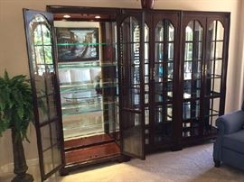 Set of 3 Lighted Glass Curio Cabinets