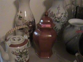 some oriental items, vases, teapots, ginger jars