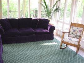 Traditions sofa, upholstered rocker
