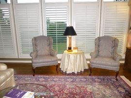 PAIR OF BEAUTIFUL QUEEN ANNE WING BACK SATEEN CHAIRS