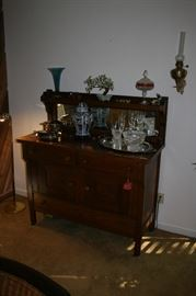 Antique Oak Sideboard with Mirrored Back Panel
