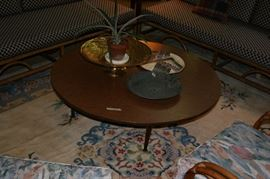 Retro Round Coffee Table, Paula Brown Bowls, Large Brass Bowl