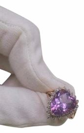 purple-heart-crystal-ring-14.5-carat-diamonds-10k-gold-ring-sz-65-7-