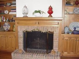 Elaborate fire screen; Italian ceramics on mantle