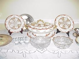"Set of Davenport ""MAER"" including tureen with underplate and two soup plats; cut and pressed glass bowls in foreground; napkin rings, silverplate, etc."