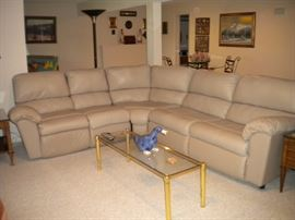 Sleeper/recliner leather sectional