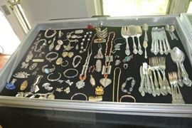 Sterling silver jewelry and Russian silver plate