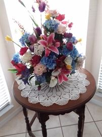SILK FLOWERS AND 1920 ERA LAMP TABLE