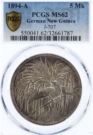 104German New Guinea 1894A 5 Mark MS62 PCGS