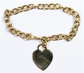 106Tiffany  Co 18k Gold Heart Charm Bracelet