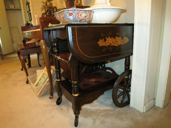 Stenciled Tea Cart