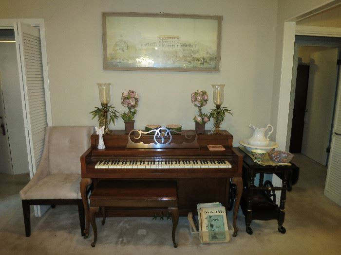 Beautiful Cable Nelson Console/Spinet Piano. Great Condition, Ready To Play. Artwork Above Piano Is A Vintage Picture Of  Vast Hostelry East Elevation by Victor Postolle. When You Come Notice The Vintage Frame.