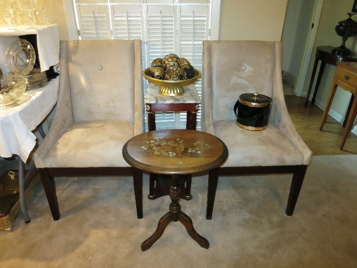 Cute Stenciled Tilt Top Table, Seude Chairs (set of 4) Hollywood Regency Black Ice Bucket, Marble Top Stand
