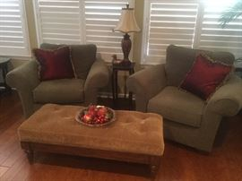 Lay Z Boy club chairs, tufted ottoman and decor