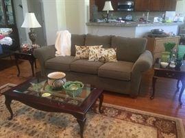 Lay Z Boy sofa, cherry tables and decor