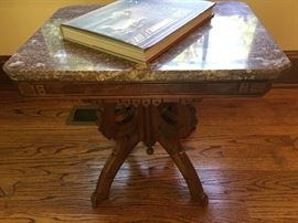 Small antique marble-top table.