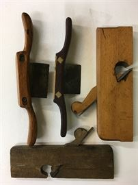 Ca 1870 - 1910 hand tools. One hand crafted with whale bone.