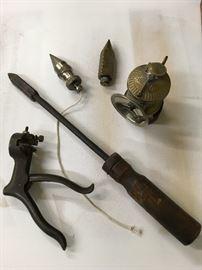 Saw blade tool, plum bobs, carbide coal miners light