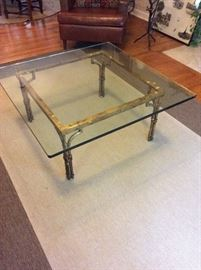 Antique, Glass top coffee table with Brass bamboo style base