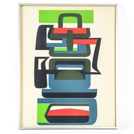 Jean Dewasne Modern Serigraph: A numbered modern serigraph, by listed artist Jean Dewasne (French, 1921-1999). The abstract modern serigraph depicts a variety of curved and straight shapes in a palette of blue, black, dark green, lime green and red on a white background. It is hand-numbered 258/300 to the lower left and is presented with glass in a narrow metal frame. A short biography of the artist is affixed to the verso. Ready to hang.