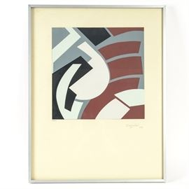 "Silvano Bozzolini Modern Serigraph: A signed and numbered serigraph by listed artist Silvano Bozzolini (Italian, 1911-1998). The serigraph depicts abstract shapes in colors of white, black, rust and gray. The serigraph is signed ""Bozzolini 54"" to the lower right margin in pencil, and is hand-numbered in dark ink ""268/300"" to the lower left. The serigraph is presented with glass in a narrow metal frame and is ready to hang. Silvano Bozzolini was a co-founder of the art group ""Espace"". His work is represented in museums including Musée d'Art Moderne, Centre Georges Pompidou, Paris, Museum of Modern Art, New York, Museo d'Arte Moderna, in Sao Paulo Brazil, and Galeria d'Arte Moderna in Florence, among others."