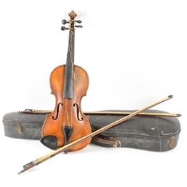 "Thomas Smith Violin: A Thomas Smith violin with two bows and a black case; interior is marked ""Est 1881, Sold by Thomas Smith, 183 Sherlock Street Birmingham""."