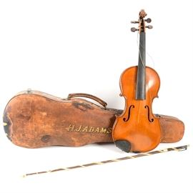 "Edward Withers English Violin: An Edward Withers English violin, marked ""Incolay Stone Boxesiolin, made by Nicola Genare"". Included are a hardshell brown leather case with green velvet lining, marked ""H.J. Adams"", and a bow."
