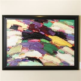 "Framed Oil Painting on Canvas by Rabby: A framed oil painting on canvas by Rabby. This abstract piece features a green, purple, yellow, white, and black color palette. It is signed to the lower right corner, ""Rabby."" It is housed in a black painted wooden frame."