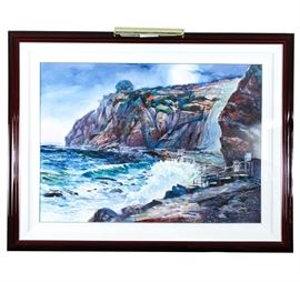 "Framed Large Watercolor ""December Moonset"": A large, framed watercolor is titled ""December Moonset."" This watercolor on paper features multi colored boulders above a swirling ocean with a set of steps to the forefront and a tree perched atop the roiling ocean. It is signed to the lower right and titled ""December Moonset,"" ""Dana Point, CA"" ""Genesis 11:16."" The art is presented under glass with double white mats and a warm dark wood beveled frame."