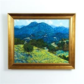 "Framed Oil Painting by C. Glendardi: A framed oil painting by C. Glendardi. This piece depicts a landscape with luscious green hills with trees and a blue mountain in the background. It is signed to the lower left corner, ""C. Glendardi."" It is housed in a gold tone wooden frame with wire hanging to the verso."