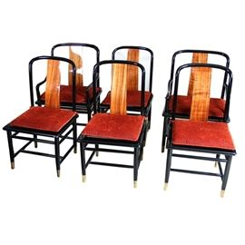Set of Six Henredon Elan Chairs: A set of six Henredon Elan chairs. Each chair features ebony frames with wooden back splats, reddish seat cushions, brass caps to the feet, and H stretchers. Includes two arm chairs and four dining chairs. No visible markings.