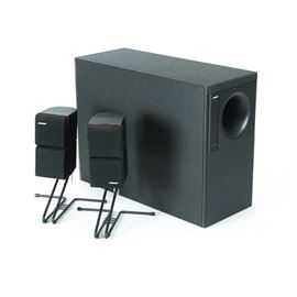Bose Subwoofer and Surround Sound Speakers: A pair of Bose surround sound speakers on wire bases and an Acoustimass 5 Series II subwoofer, 39141/ am5boxe131825.