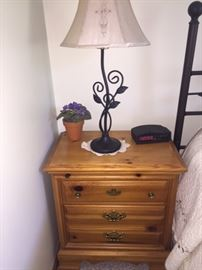 Two bedside tables and lamps