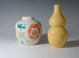 A CHINESE TEA CADY AND A CRACKLE GLAZE GOURD SHAPED VASE.
