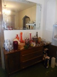 MCM Stanley Furniture Side Board. Storage. Drawers. MCM Orange Glass, Bar Ware,