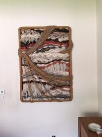 Wonderful thick, textured, woven art piece custom made for the owners by a local artist. One of a kind and lovely!