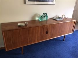 """Scandinavian Design long cabinet in mint condition! The size is: 91"""" X 19"""" X 31"""" tall                                   Sliding doors!"""